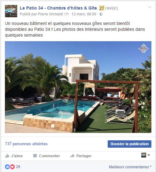 Publication Facebook d'une chambre d'hôtes à proximité de Montpellier