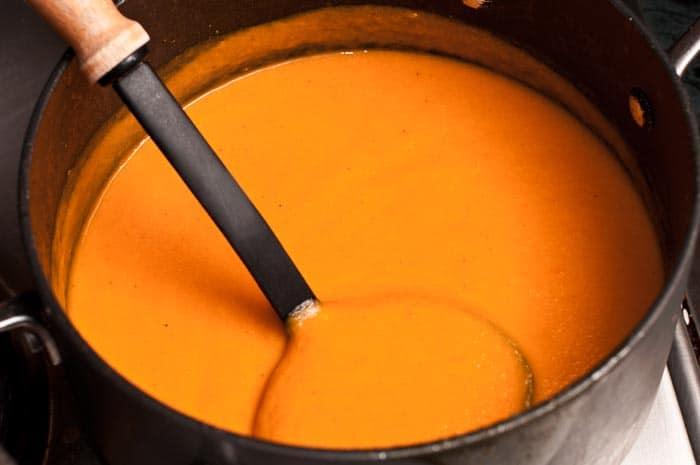 crema de zanahoria lista