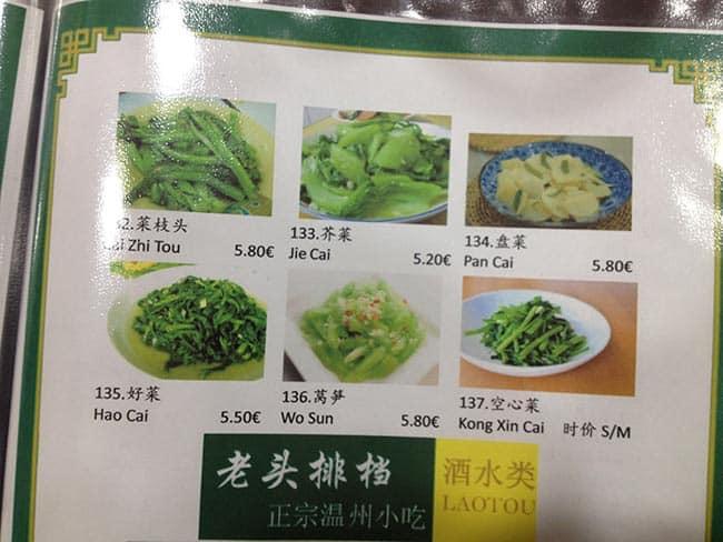 menu restaurante lao tou usera
