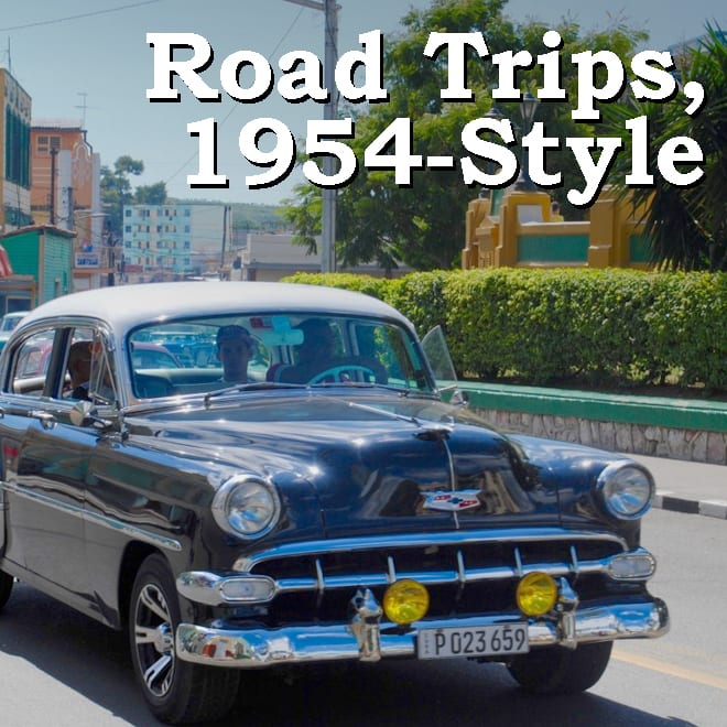 1954 Driving Safety Video image: 1950s Chevrolet text: Road Trips, 1954-style