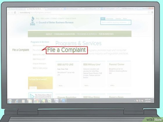Immagine titolata File a Complaint With the Better Business Bureau Online Step 2