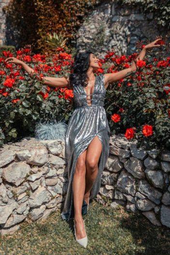 Margherita de Cles con abito ecosostenibile seta vegana