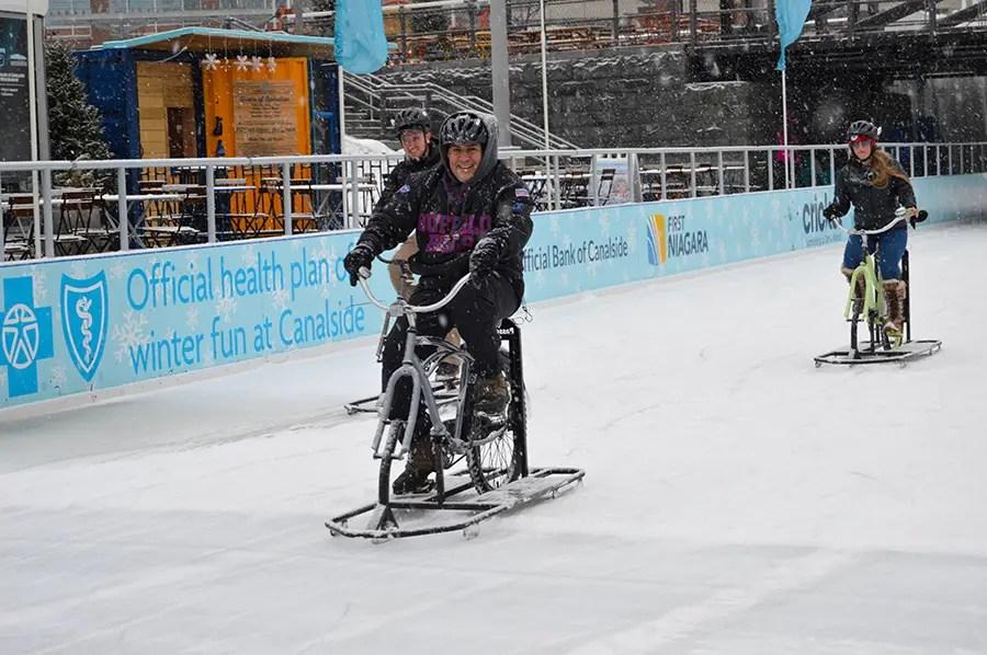 Ice Biking at Canalside, Buffalo