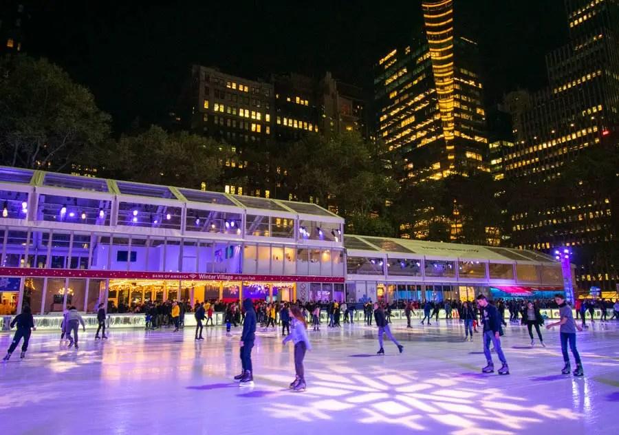 Ice skating rink at Bryant Park