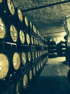 Underground wood barrel aging
