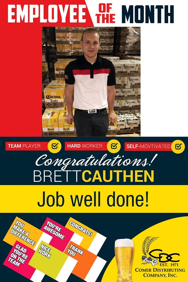 Brett Cauthen - Employee of the Month January 2017