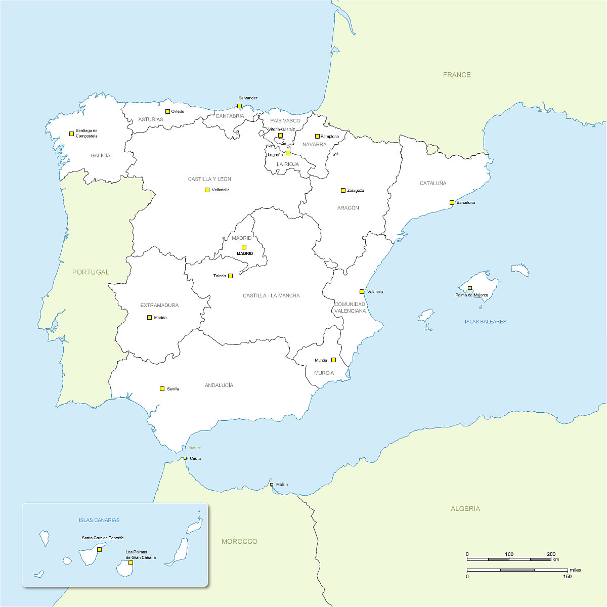 Spain Map Regions And Capitals