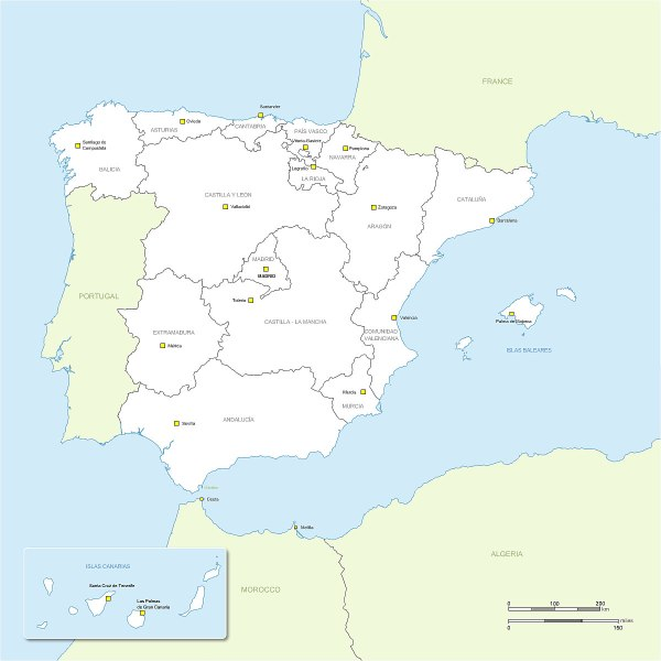 Hi resolution vector map of Spain regions with names