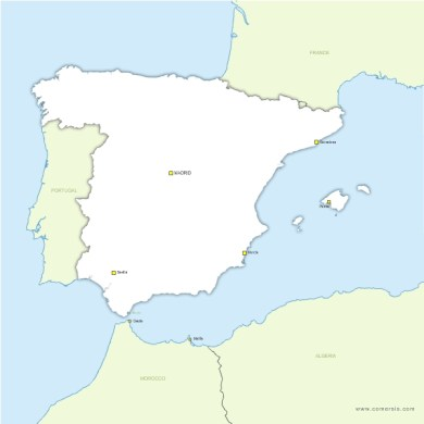 Free vector blank map of Spain