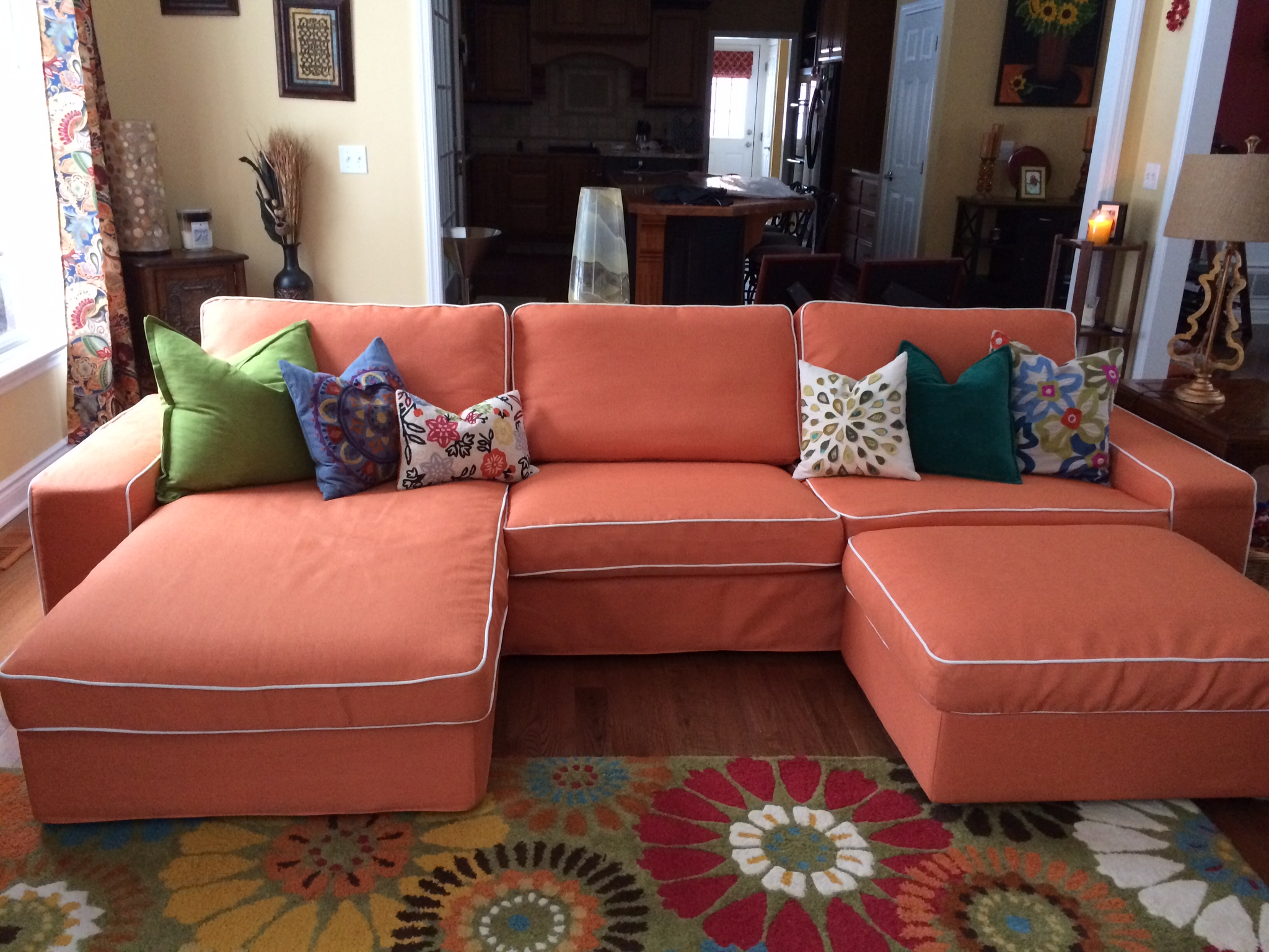 Leather And Fabric Sectional Chaise