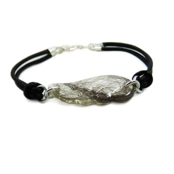 Angel wing memorial genuine leather bracelet