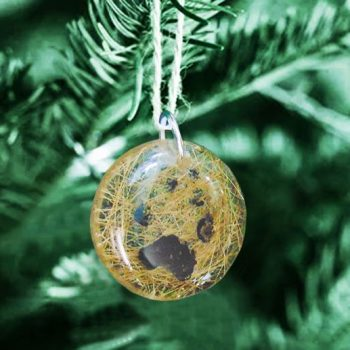 Actual paw print memorial ornament custom to your pet's hair or ashes