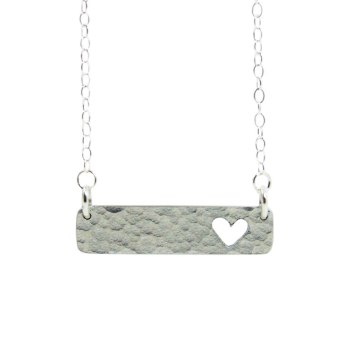 Bar necklace with heart cut out on sterling silver chain