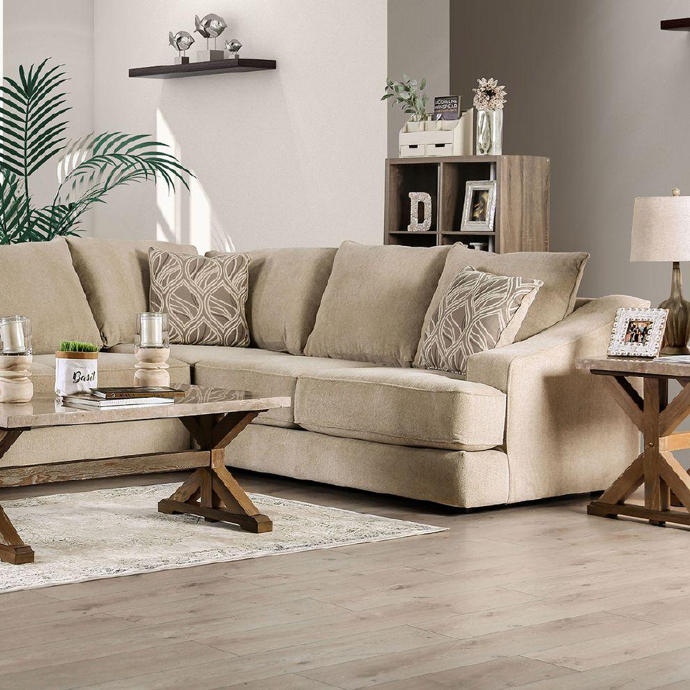 senda beige sectional sofa