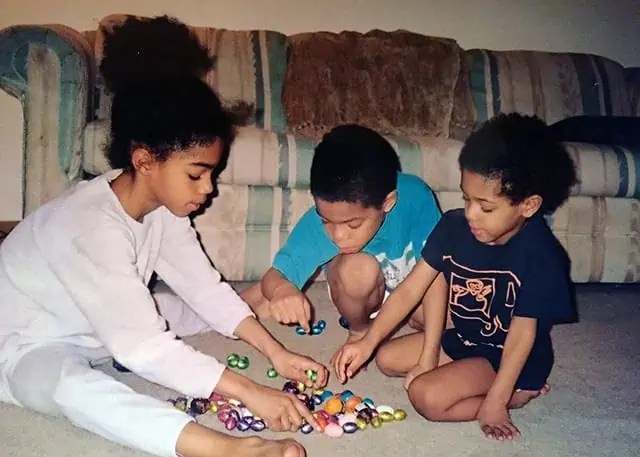 Three Kids counting Easter Eggs