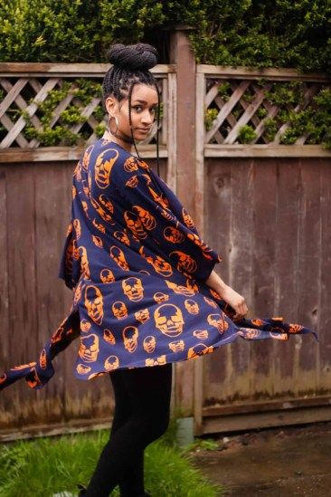 TildaKimono Skull Kimono Orange and Navy | Box Braid Top Bun Style