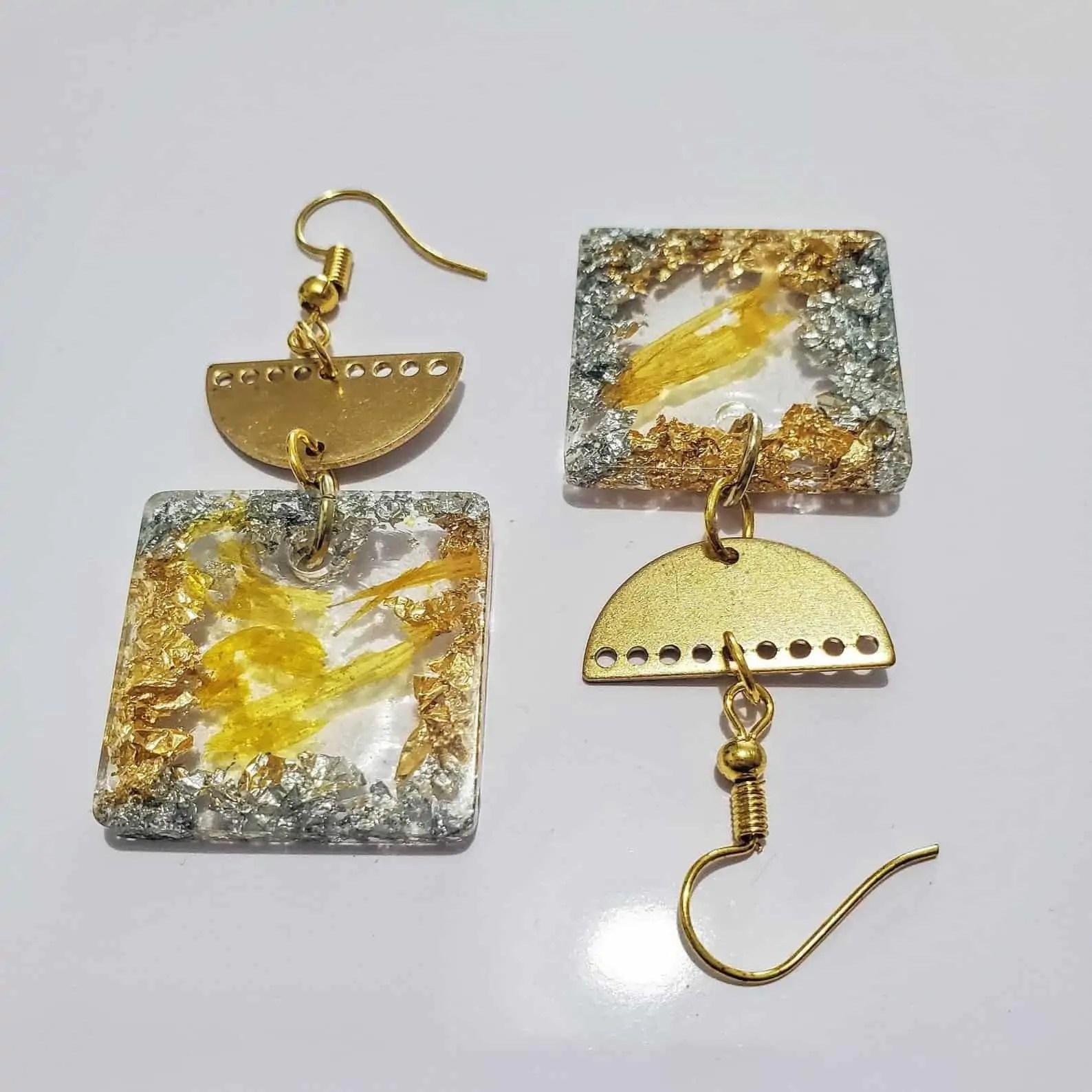 BounceBackJewelry | JOY: Square Resin Dangle Earrings | Black Owned Etsy Shop Canada