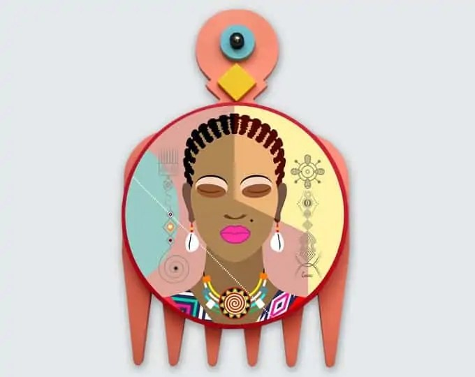 Black Woman Painting, African Girl Art Natural Hair Adinkra DUAFE | Lanre Studio | Black Canadian Pop Artist