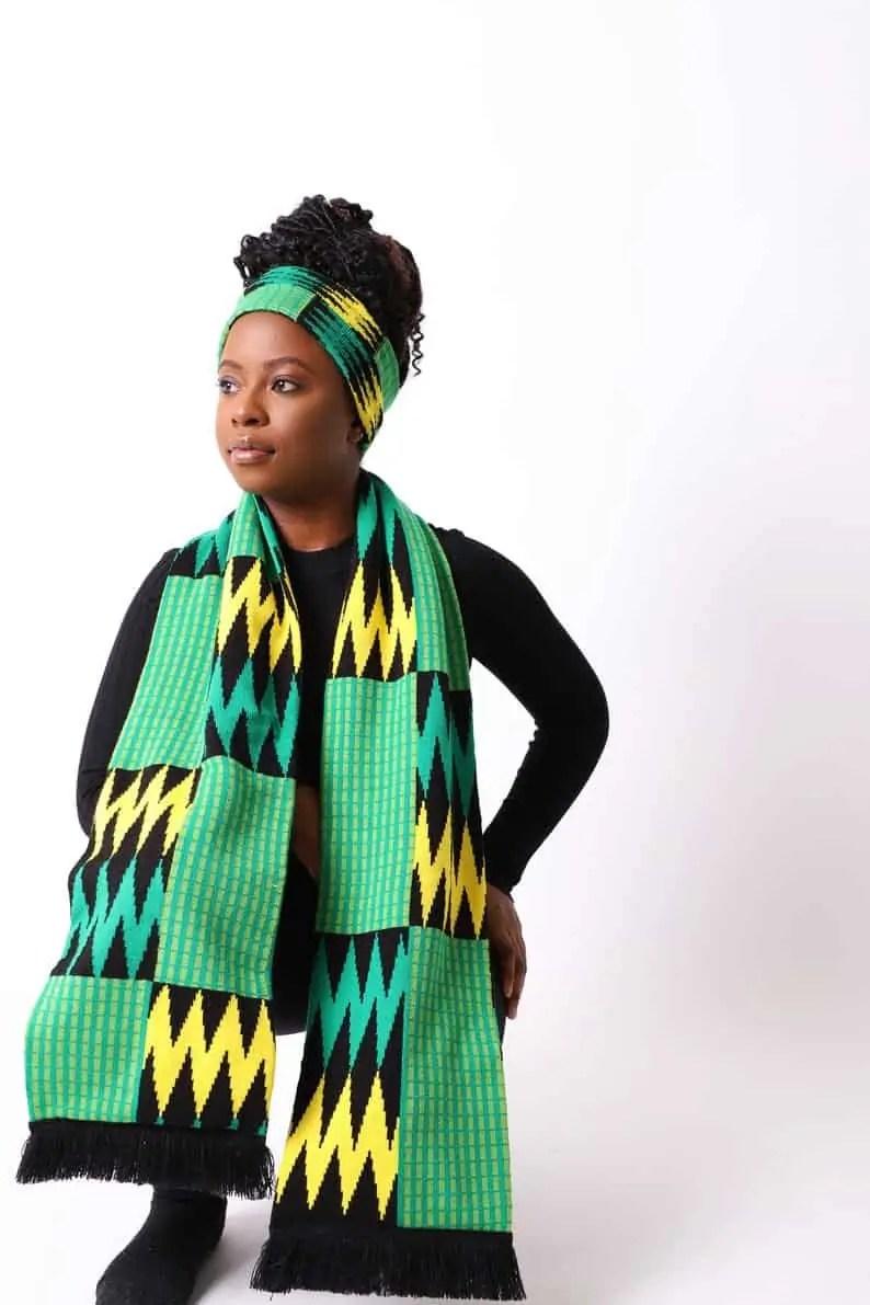 ShopNorthernashanti | Northern Ashanti Mensa Scarf with Fringe | Black Canadian Etsy Seller
