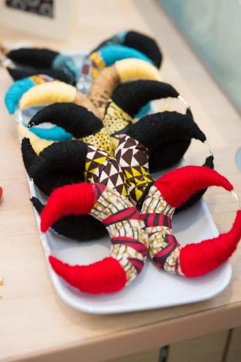KhokhoDesigns African Inspired Cloth Earrings | Black Canadian Etsy Seller
