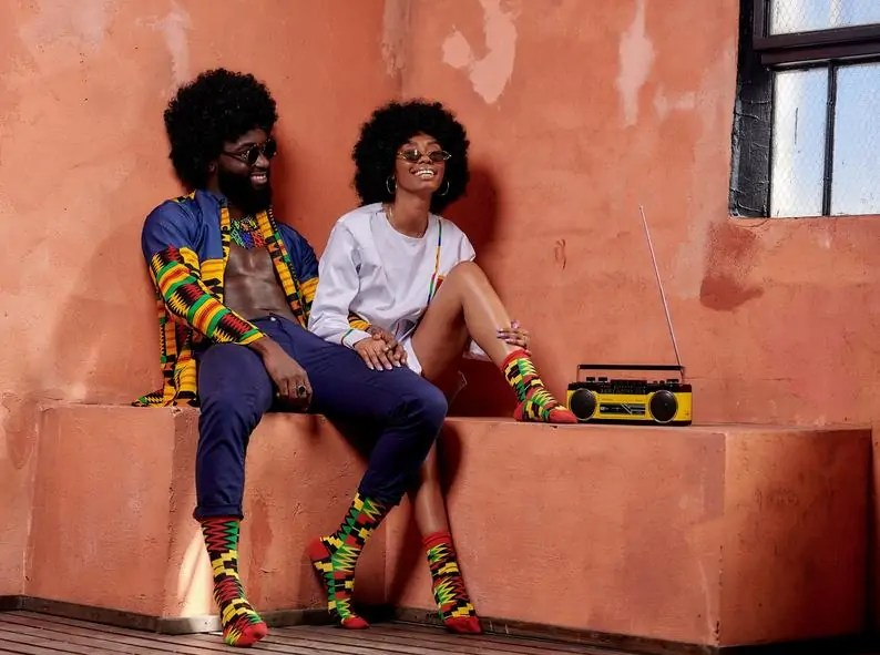 Afrocentric Black-owned Etsy Gifts for Men   Afro Pop Socks   Kente Print His & Her
