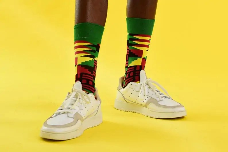 Afrocentric Black-owned Etsy Gifts for Men   Afro Pop Socks   Kente Print