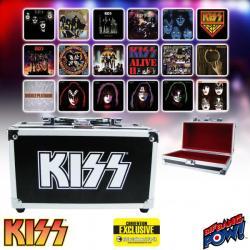 KISS Album Cover Coaster Set in Miniature Guitar Case - Convention Exclusive