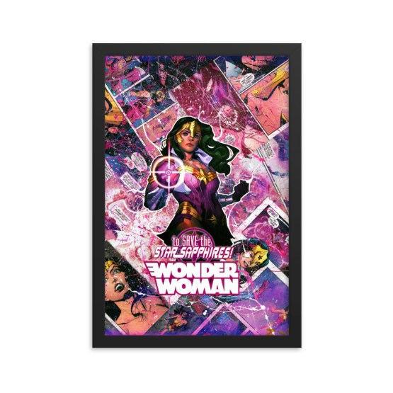 Wonder Woman Comic Canvas Framed Reproduction Print