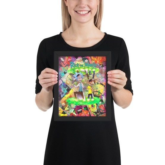 Rick and Morty Comic Canvas Framed Reproduction Print