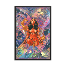 Dejah Thoris – John Cart Comic Canvas Framed Reproduction Print