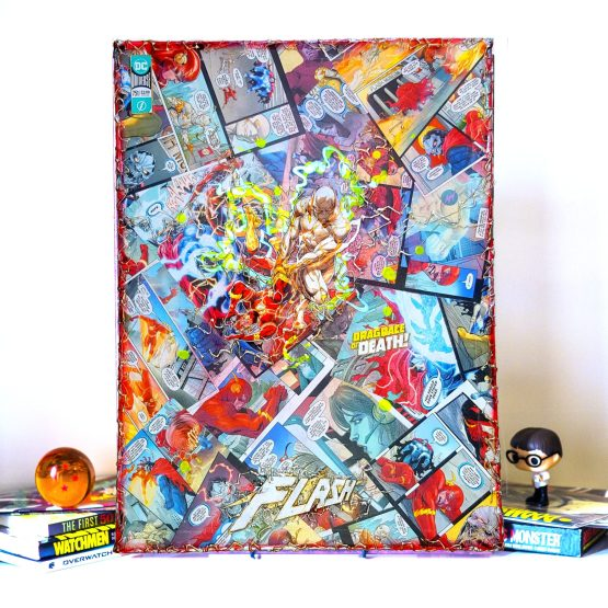 Godspeed vs The Flash | Drag Race of Death | The Flash #751 One of a Kind JUMBO DC Comic Collage Variant Canvas