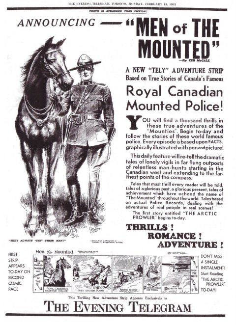 Toronto Evening Telegram on the  first day of the Men of the Mounted strip