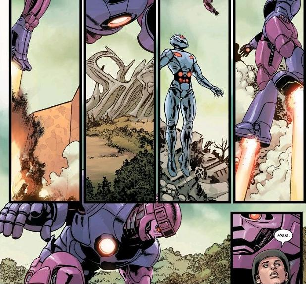 """""""Hmm."""" indeed. What is stopping the Ultrons from hijacking Sentinels flying overhead?!?"""