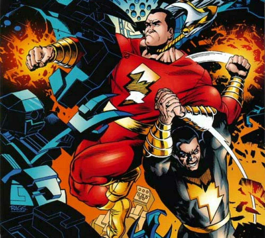 Black Adam fights alongside Captain Marvel