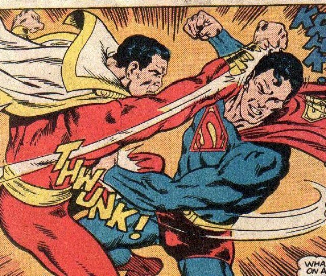 Superman Gets Punched By Captain Marvel