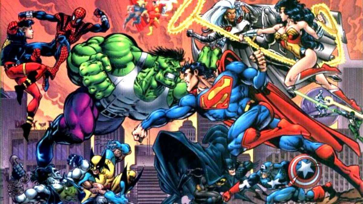 1996 crossover event with fights between Marvel and DC comics characters