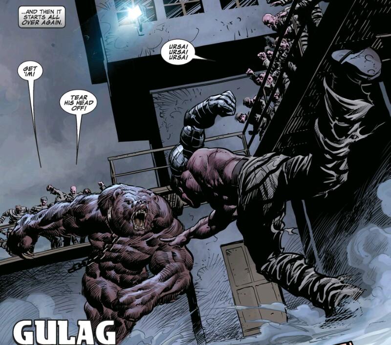 Bucky Barnes fights a bear in russian prison