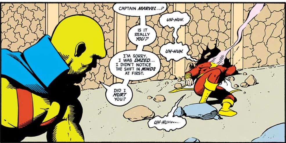 Captain Marvel gets clocked by Martian Manhunter in JLI