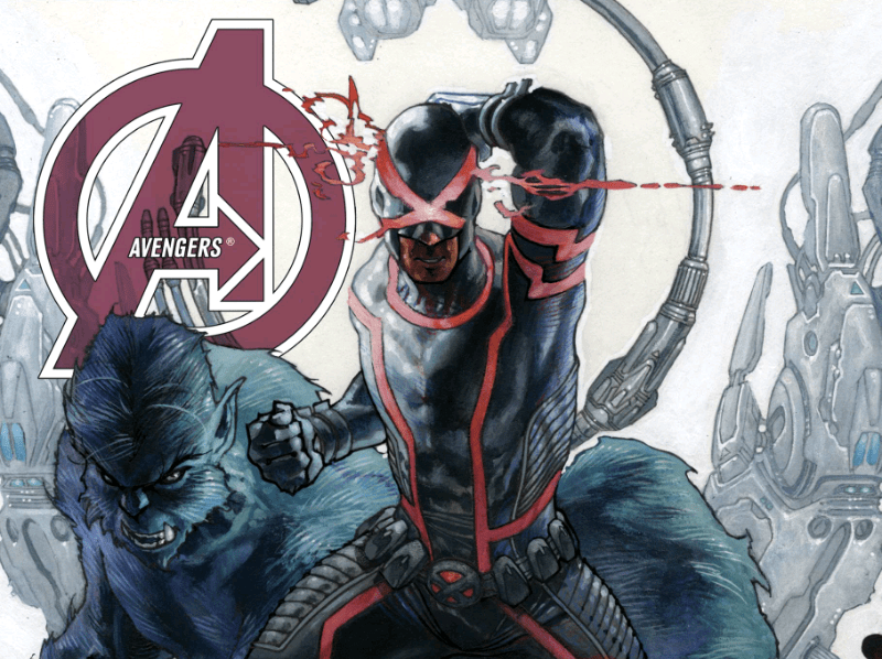 Cyclops and Beast on the cover of Avengers written by Jonathan Hickman