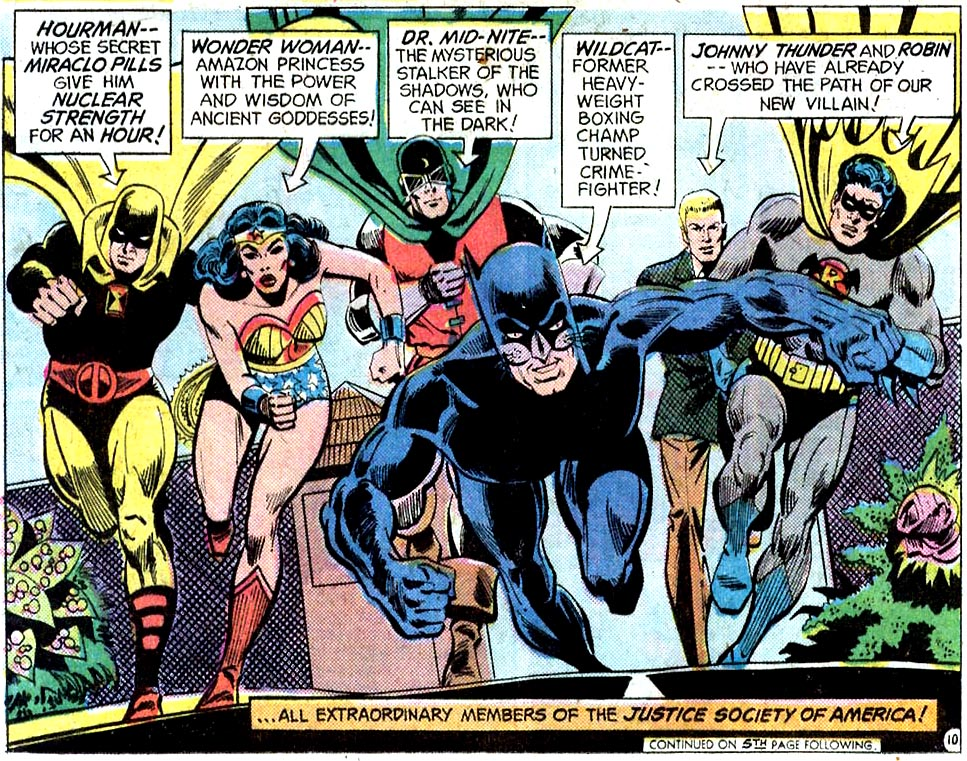 the JSA team meets the Justice League