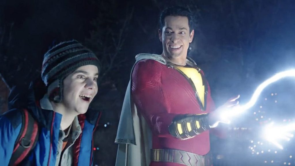 Shazam and Freddy Freeman test lightning powers in the DC movie