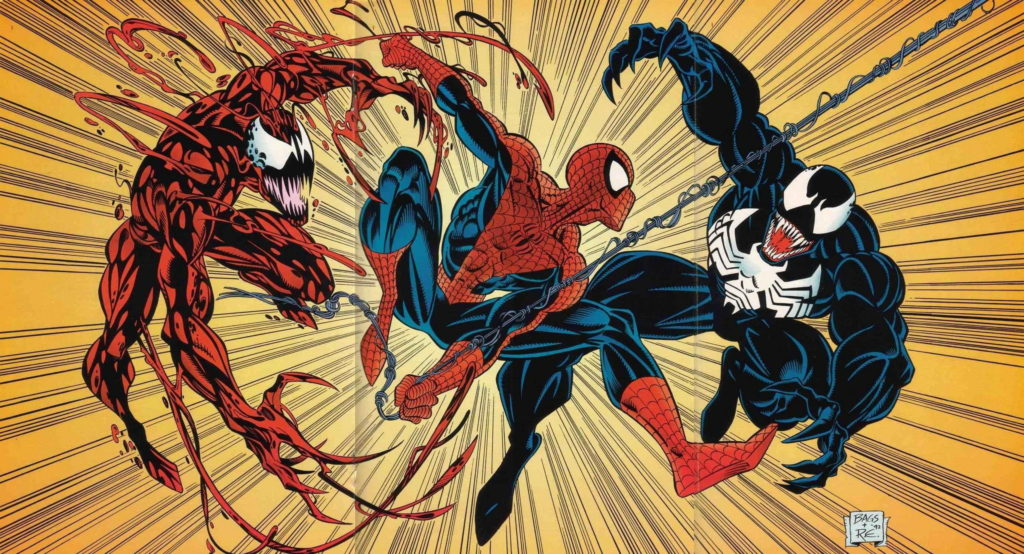 Spider-Man fights Venom and Carnage with art by Mark Bagley