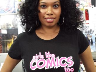 Joanna Maharaj modeling the Girls Like Comics t-shirt.