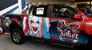 Harley Quinn wrap on Chevrolet pickup truck from NYCC 2016 promoting Suicide Squad