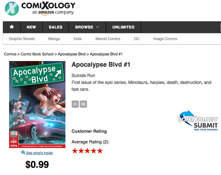 Comixology listing for Apocalypse Blvd #1