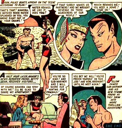 Namora s'installe dans la vie de Namor mais n'est pas encore sa cousine, en tout cas pas à l'époque.