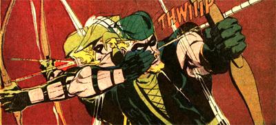 Green Arrow en action dans ce qui est à l'époque son tout nouveau costume et qui deviendra son uniforme le plus connu...