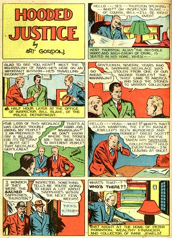 La première page des aventures de Hooded Justice... ou Invisible Hood. L'éditeur ne sait pas sur quel pied danser...