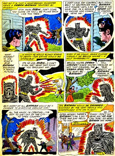 Batman envisage ce que serait sa vie s'il restait coincé sous cette apparence d'homme-zébre magnétique...