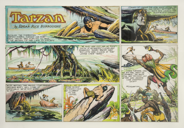 Dessin extrait des planches d'Hogarth  - Tarzan TM and Edgar Rice Burroughs TM owned by Edgar Rice Burroughs, Inc. and Used by Permission Collection particulière, © Jacques Pepion 2008